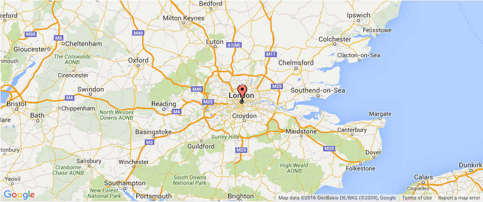 Map Showing Our Chauffeur Hire Coverage